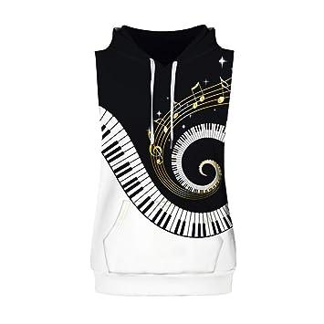 Hombre camiseta sin manga,Sonnena ❤ Chaleco de moda para hombres Melodía de piano