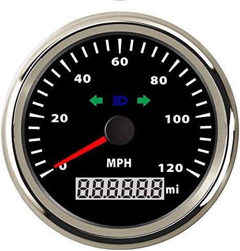 ITYAGUY Waterproof MPH GPS Speedometer Gauge Odometer 120MPH Mileage Adjustable Overspeed Alarm for Boat Car Truck Motorcycle 85MM