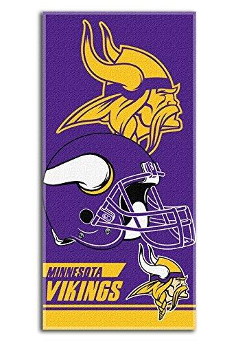 SaveMax NFL9110023 - The Northwest Company Minnesota Vikings NFL Football Double Cover 28x58 Cotton Velour Beach Towel