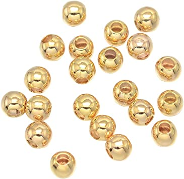 20Pcs Gold Plated Loose Round Ball Copper Brushed Spacer Beads Charms 10mm