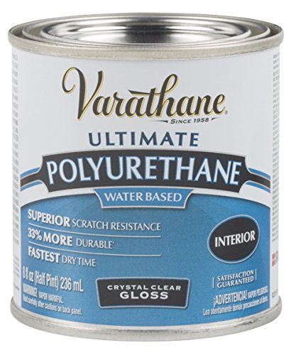 Interior Gloss Varnish (Rust-Oleum Varathane 200061H 1/2-Pint Interior Crystal Clear Water-Based Polyurethane, Gloss Finish)