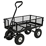 Sunnydaze Garden Cart, Heavy Duty Collapsible Utility Wagon, 400 Pound Capacity, Black