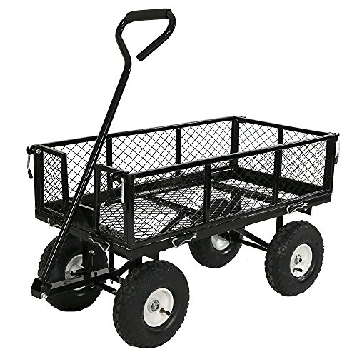 Axle Flatbed Trailer (Sunnydaze Garden Cart, Heavy Duty Collapsible Utility Wagon, 400 Pound Capacity, Black)
