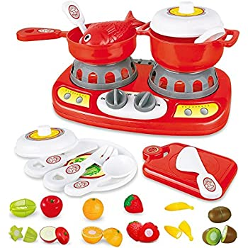 FUNERICA 20 Piece Mini Kitchen Stove Top - with Lights and Sound Effects | Adorable Cuttable Play Fruits | Toy Pots and Pans & utensils | Mini Kitchen for ...