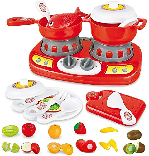 20 Piece Mini Kitchen Stove Top - with Lights and Sound Effects | Adorable Cuttable Play Fruits | Toy Pots and Pans & utensils | Mini Kitchen for Little Kids