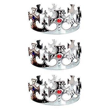 Corona De Rey Cruces Plateada Pack 3 Uds Corona Rey Mago Navidad