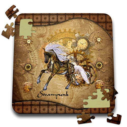 3dRose Heike Köhnen Design Steampunk – Golden steampunk horse – 10×10 Inch Puzzle (pzl_287337_2)