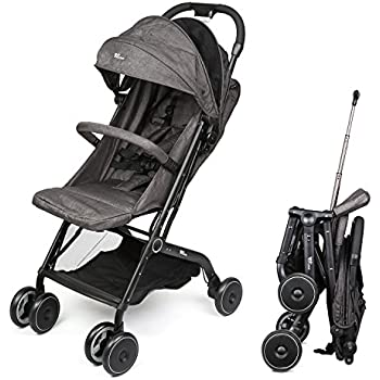 Amzdeal Airplane Lightweight Stroller with Pull Rod Umbrella Stroller One-hand Fold Design Baby Infant Travel Stroller - Black