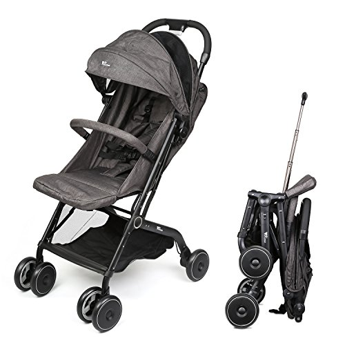 Amzdeal Airplane Lightweight Stroller with Pull Rod Umbrella Stroller One-Hand Fold Design Baby Infant Travel Stroller – Black