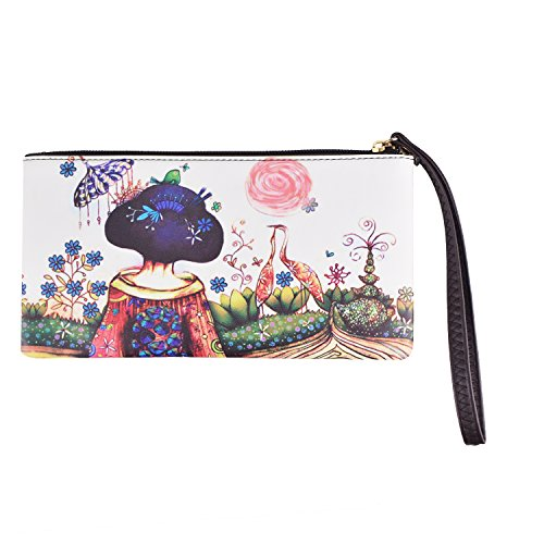 Women's Long Simple Wallet, Makeup bag Zipper coin Purse Clutch Handbag (Kimono (Kimono Bag Purse)