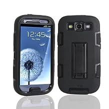 S3 Case, Lantier Hybrid Tuff Combo Rugged Rubber Matte Hard Case [Anti-Slip] [Kickstand Function] Ultra Slim For Samsung Galaxy S3 i9300 Black-Black