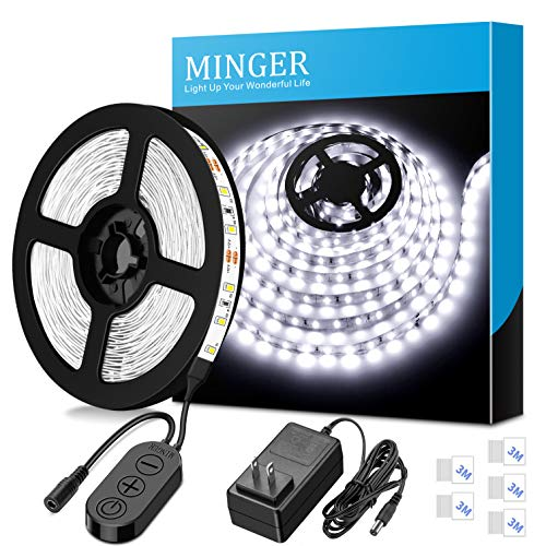 Dimmable LED Strip Lights, MINGER White Strip Light LED Mirror Lights Kit for Vanity Makeup Dressing Table 6000K Bright White Daylight, 300 LEDs, 16.4FT Under Cabinet Lighting Strips for Kitchen]()
