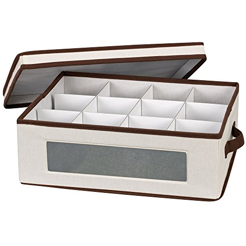 Household Essentials 538 Vision China Storage Box for Tea Cups and Mugs with Lid and Handles | Natural Canvas with Brown Trim (Glass Coffee Cups Brown)