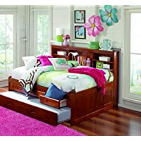 Discovery World Furniture Full Bookcase Daybed with 3 Drawers and Twin Trundle, Merlot
