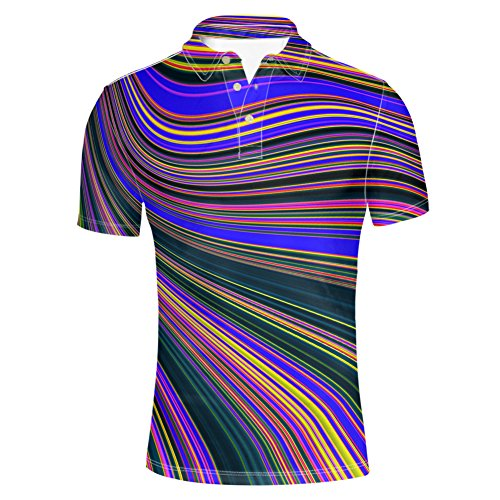 HUGS IDEA Colorful Striped Men's Classic Jersey Polos T-Shirt Summer Casual Short Sleeve Slim Fit Shirts