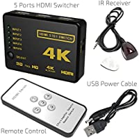 5-Port HDMI Switch, 5 in 1 out HDMI Switcher HDMI Splitter with IR Wireless Remote, High Speed HDMI Converter, support Full 3D 4k x 2k for HDTV/ DVD/ STB/ PC