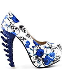 Ladies Skull Rose Print Platform Bone Heel Party Club Pumps,LF80610
