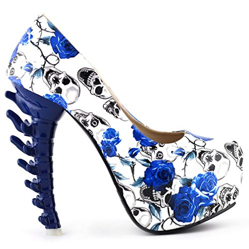 SHOW STORY New Bone High Heel Platform Bone Heels Shoes,LF80610BU38,7US,Blue