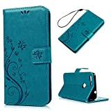 Pixel Case, Mavis's Diary Google Pixel Protective Case Embossed Butterflies Floral Wallet Flip Folio Stand Case Premuim PU Leather with Shockproof TPU Inner Bumper Card Slots Wrist Strap - Blue