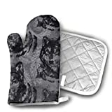 wolf steam oven - Art Wolf Oven Mitts Kitchen Cooking Cotton Microwave Oven Gloves Mitts Pot Pad Heat Proof Protected Gloves