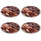 Luxlady Natural Rubber Round Coasters IMAGE ID: 23469205 Cinnamon sticks and star anise on a background of coffee beans