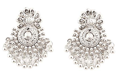 Oxidized Silver Jewellery - NEW! Touchstone Indian Bollywood Bohemian Art Oxidized Silver Look Designer Jewelry Chandelier Earrings Collection In Silver Tone For Women.