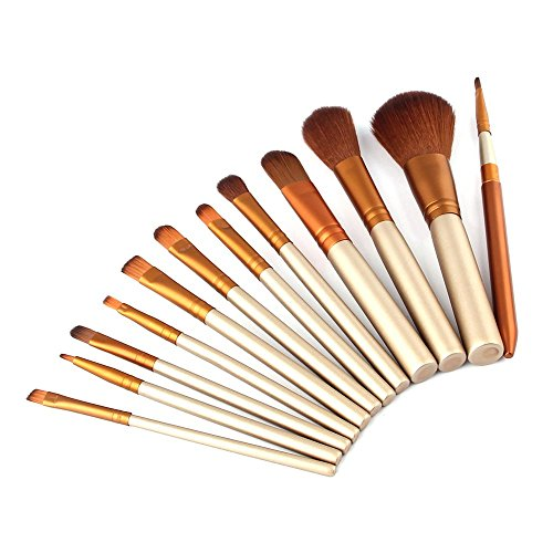 Vander Professional Makeup Brush Set Cosmetics Foundation Blending Blush Eyeliner Face Powder Brush Kabuki Makeup Brushes (12pcs Golden)