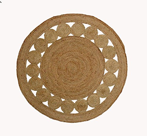 Cotton Craft - 100% Pure Natural Eco-friendly Jute - Fully Reversible - 8 Feet round - Braided Dots Round Area Rug (Natural Classic Jute)