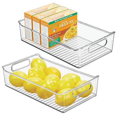 mDesign Wide Plastic Kitchen Pantry Cabinet, Refrigerator or Freezer Food Storage Bin with Handles - Organizer for Fruit, Yogurt, Snacks, Pasta - BPA Free, 14
