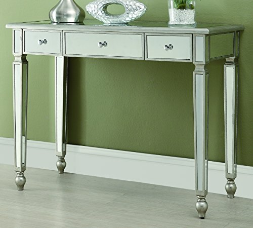 Mirrored Painted Console Table - Coaster Home Furnishings 3-Drawer Mirrored Console Table Antique Silver