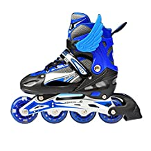 Adjustable Inline Skates Featuring Illuminating All Wheels Durable Attractive Rollerblades Suitable for Boys Girls,Includes Protective Gear