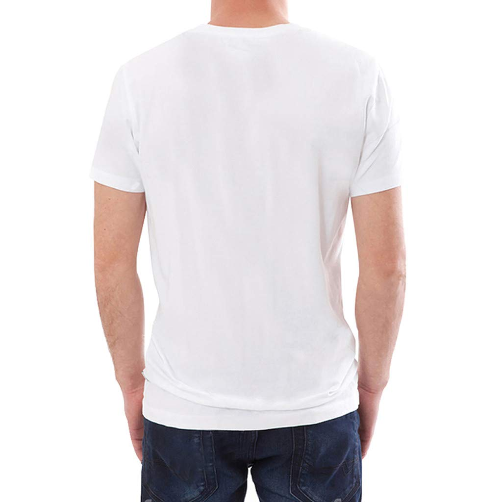 Pervobs Men's Basic White T-Shirt Spring Summer Personality Printing Sleeve O-Neck Short T-Shirt Top Blouse Regular Fit(M, White B) by Pervobs Mens T-Shirts (Image #3)