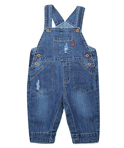 ZL MAGIC Baby & Little Boy/Girl Soft Washed Denim Bib Overalls (Various Styles) (12-18 Months, Denim#15)