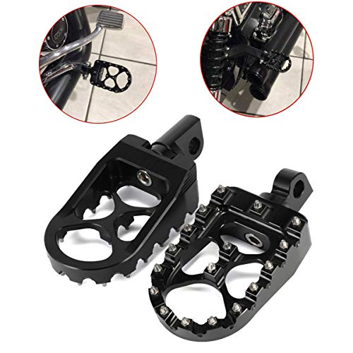 CNC Wide Fat Footpegs Foot Pegs MX Rotating Custom Chopper Bobber Style Footrests For Harley Dyna 1993-2017 883 ()