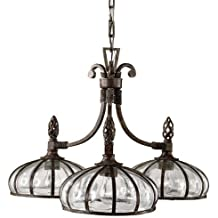 Uttermost 21046 Galeana 3-Light Iron Downlight Chandelier with Mouth Blown Glass