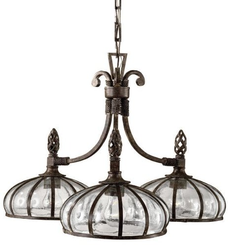 Uttermost 21046 Galeana 3-Light Iron Downlight Chandelier with Mouth Blown Glass - Mouth blown glass, banded and structured with iron Finish: Iron finished with clay patinas Style: Traditional / Transitional - kitchen-dining-room-decor, kitchen-dining-room, chandeliers-lighting - 51fcNb4RjPL -