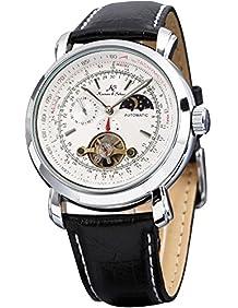 KS Men's Wrist Watch Luxury Moon Phase Automatic Mechanical White Dial KS069