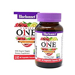 BlueBonnet Nutrition Ladies One Vegetable Capsule, Whole Food Multiple, K2, Organic Vegetable, Energy, Vitality, Non-GMO, Gluten Free, Soy Free, Milk Free, Kosher, 60 Vegetable Capsule, 2 Month Supply