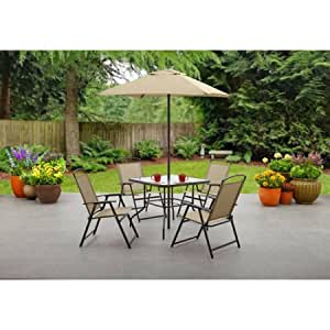 Mainstays Albany Lane 6-Piece Folding Dining Set (Includes Dining table, Folding chairs and Umbrella), Tan