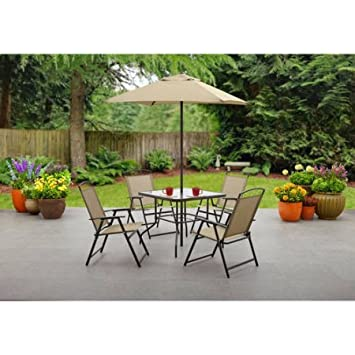 Mainstays Albany Lane 6-Piece Folding Dining Set Includes Dining table, Folding chairs and Umbrella Tan