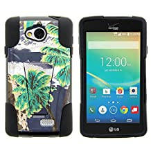 LG Optimus F60 Case, LG Transpyre Case, Dual Armor Fusion STRIKE Impact Kickstand Case with Unique Designs for LG Transpyre VS810PP, LG Tribute LS660, LG Optimus F60 (Verizon, Virgin Mobile, MetroPCS) from MINITURTLE | Includes Clear Screen Protector and Stylus Pen - Cloudy Palm Trees
