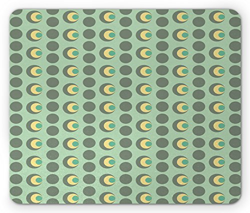 - Lunarable Retro Mouse Pad, Nested Circles Dots Half Moon Shapes Geometrical Tile Pattern, Standard Size Rectangle Non-Slip Rubber Mousepad, Mint Green Sage Green Light Yellow