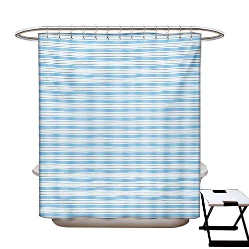 (Harbour Stripe Shower Curtains Fabric Wavy Soft Horizontal Old Fashion Pattern Geometric Lines Artful Image Bathroom Decor Set with Hooks W48 x L84 Pale Blue White)