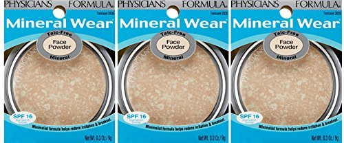 Physicians Formula Mineral Wear Talc-free Mineral Face Powder, Translucent, 0.3-Ounces (3 pack)