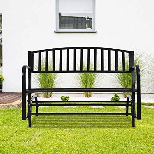 Patio Glider Bench Outdoor Park Bench Garden Bench Metal Cast Iron 50 Fornt Porch Chair Cushion