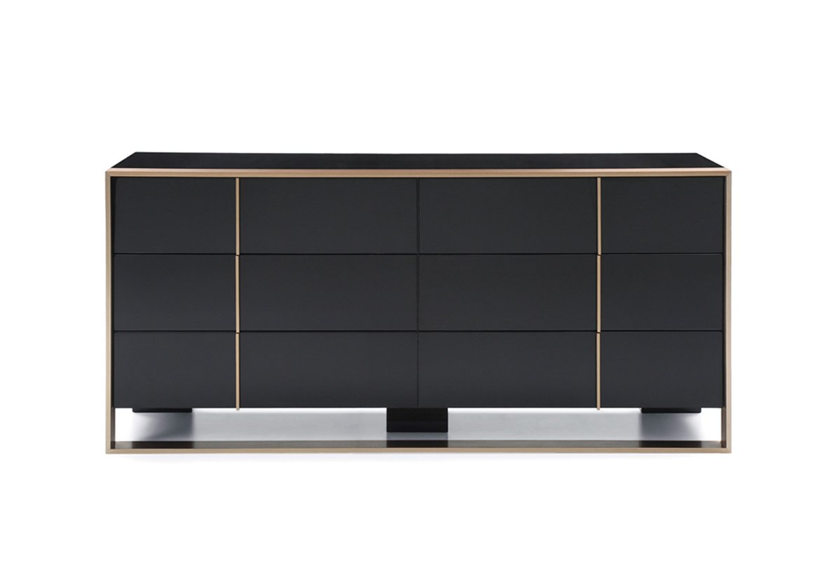 Nova Domus Cartier Modern Black & Brushed Bronze Dresser Black/Glossy by VIG Furniture