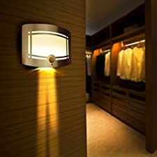 Wall Lamp, SUNNIOR Aluminum LED Motion Sensor Sconce Battery Powered Adjustable Brightness,Stick-on Anywhere