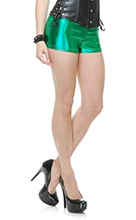 cbc7bec4c50 Womens Sexy 50s or 80s Dance Crew Emerald Lame Liquid Metal Boy Shorts Hot  Pants