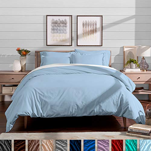 - Bare Home Luxury 3 Piece Duvet Cover and Sham Set - Full/Queen - Premium 1800 Ultra-Soft Brushed Microfiber - Hypoallergenic, Easy Care, Wrinkle Resistant (Full/Queen, Light Blue)