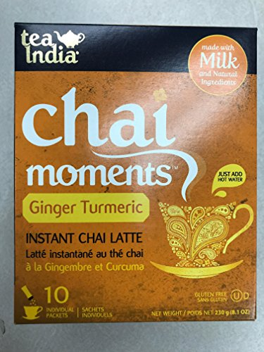 Tea India Chai Moments Instant Chai Latte Ginger Turmeric 10 Sachets (230 g / 8.1 oz) by Tea India